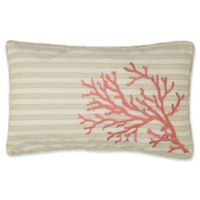Levite Home Pukai Embroidered Coral Oblong Throw Pillow in White