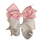 So'dorable 2-Piece Large Bow Hair Clip Set in Pink/White