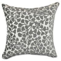 Vesper Lane Mid-Century Floral Square Throw Pillow in Grey