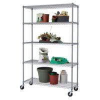 Trinity Outdoor Wheeled 5-Shelf Wire Rack in Grey
