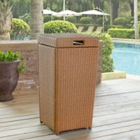 Crosley Palm Harbor Outdoor Wicker Trash Bin in Light Brown