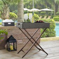 Crosley Palm Harbor Outdoor Wicker Butler Tray in Grey