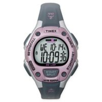 Timex® Ironman® Ladies' 34mm Classic 30 Mid-Size Watch with Grey/Pink Resin Strap