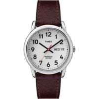 Timex® Easy Reader® Men's 35mm Watch with Silver Brass with Brown Textured Strap