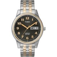 Timex® Charles Street Men's 35mm Watch in Two-Tone Stainless Steel with Expansion Band