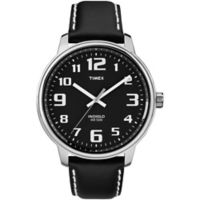 Timex® Easy Reader® Men's 43mm Watch in Silver Brass with Black Dial and Black Leather Strap