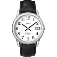 Timex® Easy Reader® Men's 35mm Watch in Silvertone Brass with Black Leather Strap