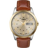 Timex® Men's 36mm South Street Sport Watch in Brass with Brown Leather Strap