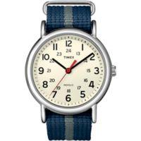 Timex® Weekender Unisex 38mm Watch in Silvertone Brass with Black/Grey Nylon Strap