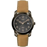 Timex® Men's 39mm Highland Street Classic Watch in Black Brass with Tan Leather Strap