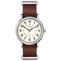 Timex® Weekender Unisex 40mm Watch in Silver Brass with Brown Leather Strap