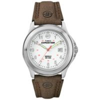 Timex® Men's 40mm Expedition® Field Watch in Silver Brass with Brown Leather Strap