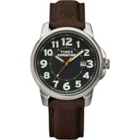 Timex® Men's 40mm Expedition® Field Watch in Polished Silver Brass with Brown Leather Strap