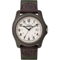 Timex® Expedition® Men's 39mm Camper Watch in Grey Resin with Green Nylon/Leather Strap