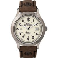 Timex® Expedition® Men's 39mm Field Watch in Silvertone w/Brown Leather Strap