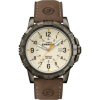 Timex® Expedition® Men's 45mm Rugged Core Analog Watch in Brass w/Brown Leather Strap