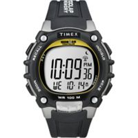 Timex® Ironman® Men's 44mm Classic 100 Full-Size Watch in Yellow w/Black Silicone Strap