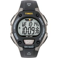 Timex® Ironman® Men's 38mm Classic 30 Full-Size Watch in Grey Resin w/Black Silicone Strap