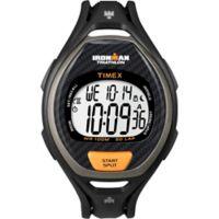 Timex® Ironman® Ladies' 38mm Sleek 50 Full-Size Watch in Orange Resin w/Black Silicone Strap