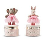 "Mud Pie® 2-Piece Ceramic Tutu Bunny ""First Curl"" and Elephant ""First Tooth"" Keepsake Set"
