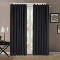 Heathered Velvet 95-Inch Back Tab/Rod Pocket Room Darkening Window Curtain Panel in Charcoal