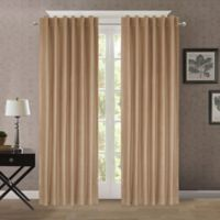 Heathered Velvet 95-Inch Back Tab/Rod Pocket Room Darkening Window Curtain Panel in Tan