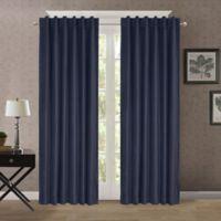 Heathered Velvet 95-Inch Back Tab/Rod Pocket Room Darkening Window Curtain Panel in Blue