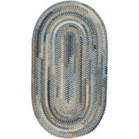 Capel Rugs Habitat Braided 1-Foot 8-Inch x 2-Foot 6-Inch Oval Accent Rug in Blue