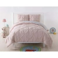 My World Pleated Full/Queen Comforter Set in Blush/Silver