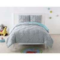 Laura Hart Kids Pleated Full/Queen Comforter Set in Silver/Turquoise