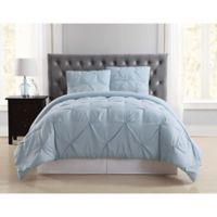 Truly Soft Pleated King Comforter Set in Light Blue