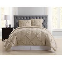 Truly Soft Pleated Twin XL Duvet Cover Set in Khaki