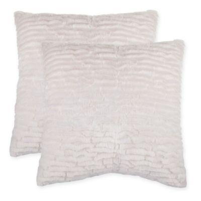 gray ctn fur pillow black p faux en