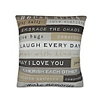 House Rules Embroidered Square Throw Pillow in Grey