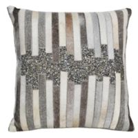 Sequined Hide Square Throw Pillow in Grey