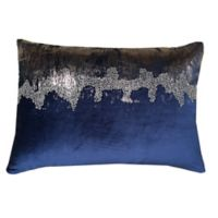 Velvet Beaded Oblong Throw Pillow in Navy/Pewter