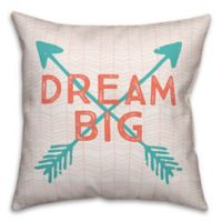 """Designs Direct """"Dream Big"""" Square Throw Pillow in Teal/Coral"""