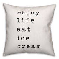 "Designs Direct ""Enjoy Life Eat Ice Cream"" Throw Pillow in Black/White"