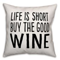 """Designs Direct """"Buy The Good Wine"""" Throw Pillow in Black/White"""