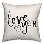"Designs Direct ""Love You"" Throw Pillow in Black/White"