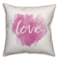 Designs Direct Watercolor Love Square Throw Pillow in Pink/White