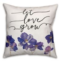"Designs Direct ""Let Love Grow"" Throw Pillow in Purple/Black"