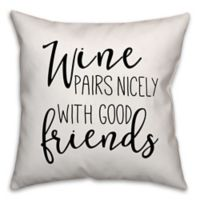 Designs Direct Wine Pairs Nicely Square Throw Pillow in Black/White