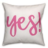 Design Direct Yes! Square Throw Pillow in Pink/White