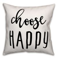 "Designs Direct ""Choose Happy"" Throw Pillow in Black/White"