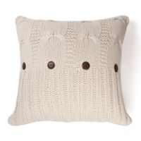 Amity Home Cable Knit Square Throw Pillow in Natural
