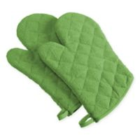 Design Imports Terry Oven Mitts in Green (Set of 2)