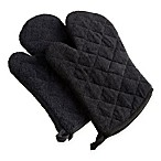 Design Imports Terry Oven Mitts in Black (Set of 2)