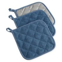 Design Imports Terry Pot Holders in Blue (Set of 3)