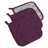 Design Imports Terry Pot Holders in Purple (Set of 3)